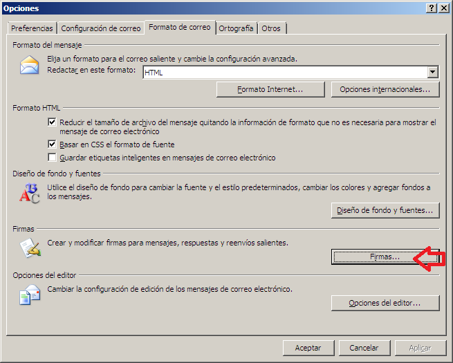 Firma de email en Outlook 2007